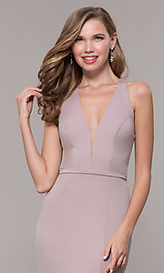 Image of jersey v-neck long formal dress with back cut out Style: FB-GL2668 Detail Image 6