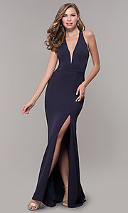 Image of jersey v-neck long formal dress with back cut out Style: FB-GL2668 Front Image