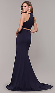 Image of jersey v-neck long formal dress with back cut out Style: FB-GL2668 Back Image