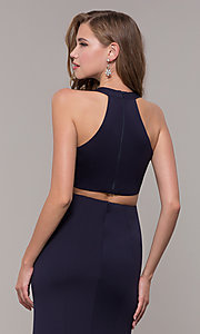 Image of jersey v-neck long formal dress with back cut out Style: FB-GL2668 Detail Image 2