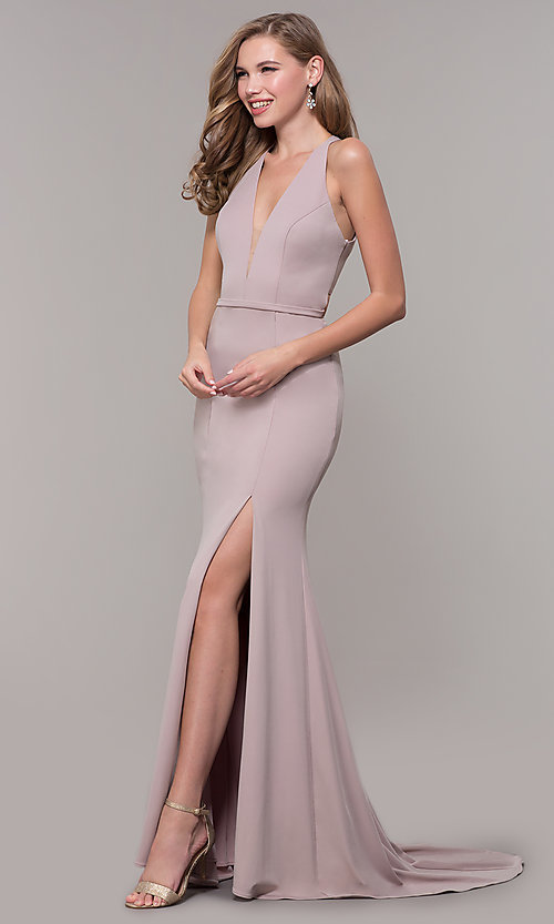 Image of jersey v-neck long formal dress with back cut out Style: FB-GL2668 Detail Image 4