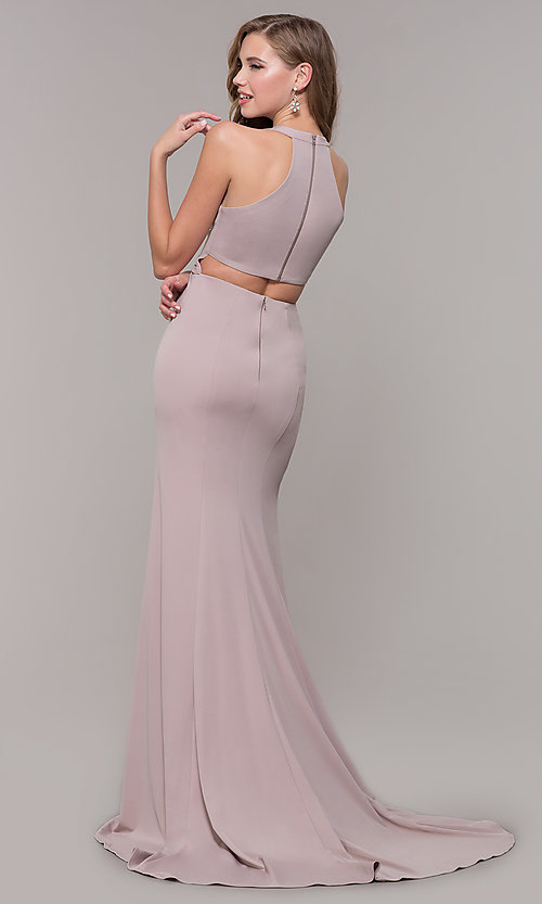 Image of jersey v-neck long formal dress with back cut out Style: FB-GL2668 Detail Image 5