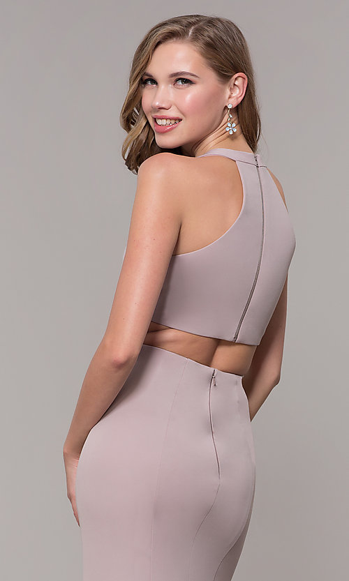 Image of jersey v-neck long formal dress with back cut out Style: FB-GL2668 Detail Image 7