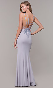 Image of open-back long lilac purple formal prom dress. Style: FB-GL2696 Front Image