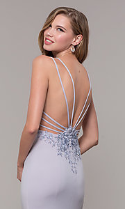Image of open-back long lilac purple formal prom dress. Style: FB-GL2696 Detail Image 2