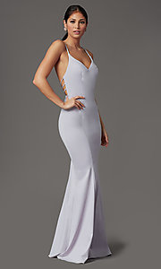 Image of open-back long lilac purple formal prom dress. Style: FB-GL2696 Detail Image 1