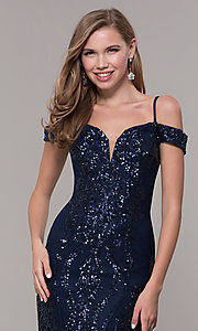 Image of sequin cold-shoulder long prom dress in navy blue. Style: FB-GL2552 Detail Image 1