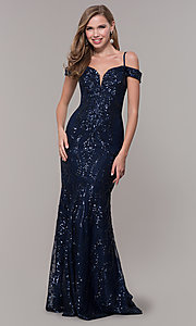 Image of sequin cold-shoulder long prom dress in navy blue. Style: FB-GL2552 Detail Image 3
