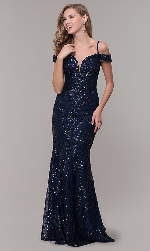 Image of sequin cold-shoulder long prom dress in navy blue. Style: FB-GL2552 Front Image