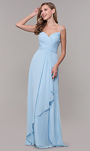 Image of long prom dress with beaded straps. Style: FB-GL2666 Detail Image 4