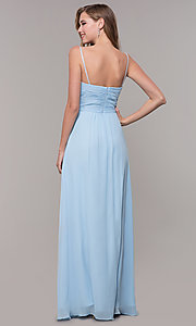 Image of long prom dress with beaded straps. Style: FB-GL2666 Detail Image 5