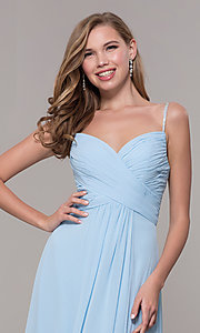 Image of long prom dress with beaded straps. Style: FB-GL2666 Detail Image 6