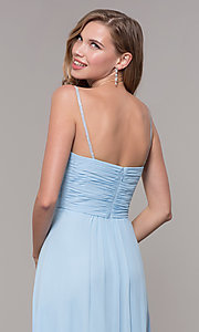 Image of long prom dress with beaded straps. Style: FB-GL2666 Detail Image 7
