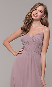 Image of long prom dress with beaded straps. Style: FB-GL2666 Detail Image 1