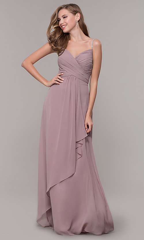 Image of long prom dress with beaded straps. Style: FB-GL2666 Front Image