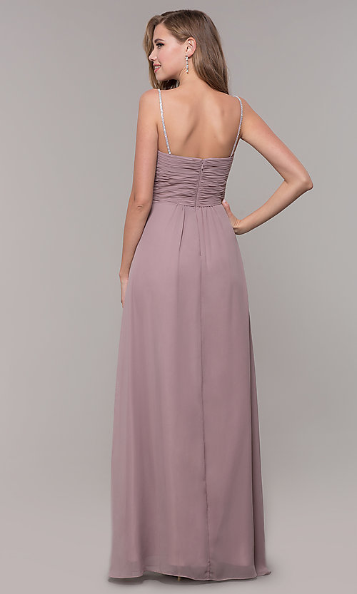 Image of long prom dress with beaded straps. Style: FB-GL2666 Back Image