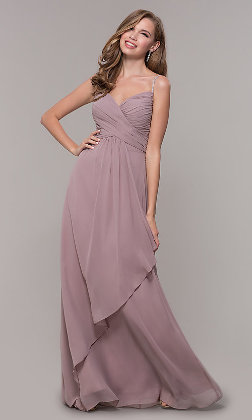 Image of long prom dress with beaded straps. Style: FB-GL2666 Detail Image 3