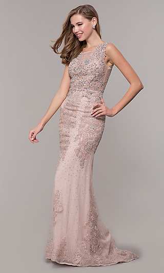 Dusty Rose Long Embroidered Prom Dress