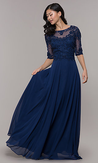 Long Prom Dress with Embroidery and Sleeves