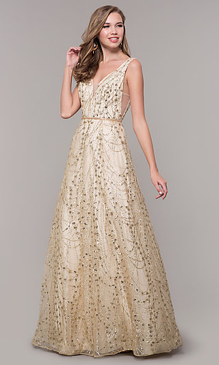 Glitter-Embellished Long Prom Dress in Champagne Gold