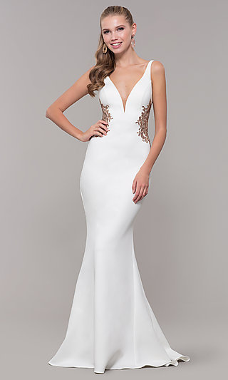 Faviana Long Formal Dress with Embroidered Sides
