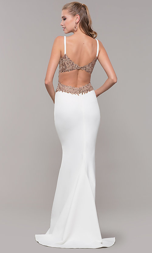 Image of Faviana long formal dress with embroidered sides. Style: FA-S10226 Back Image