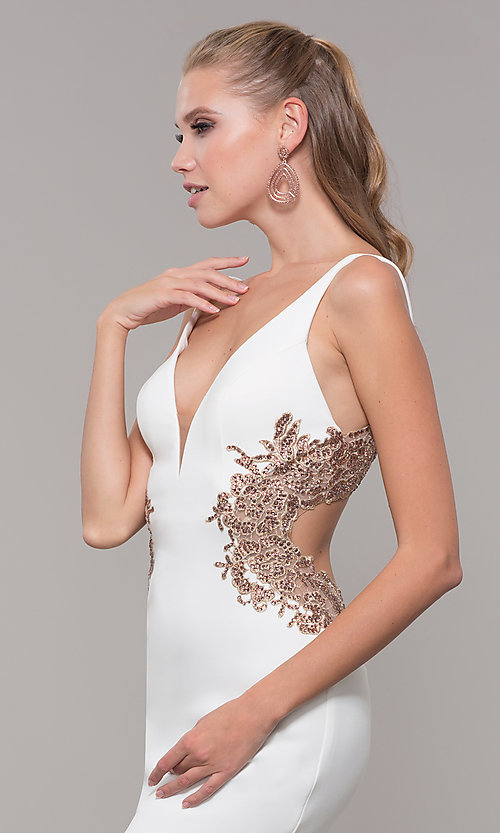 Image of Faviana long formal dress with embroidered sides. Style: FA-S10226 Detail Image 1