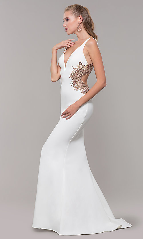 Image of Faviana long formal dress with embroidered sides. Style: FA-S10226 Detail Image 3