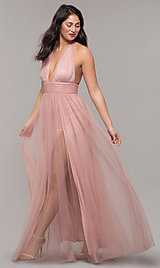Image of long open-back v-neck halter prom dress in blush. Style: LUX-LD5086 Front Image
