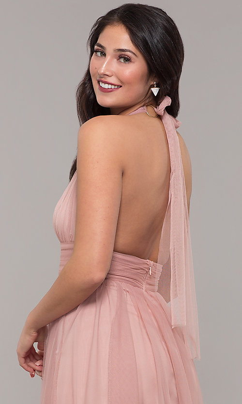 Image of long open-back v-neck halter prom dress in blush. Style: LUX-LD5086 Detail Image 2