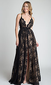 Image of lace v-neck long prom dress with tied waist. Style: MT-9811 Detail Image 3