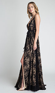 Image of lace v-neck long prom dress with tied waist. Style: MT-9811 Detail Image 4