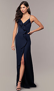 Image of long ruffled v-neck formal dress with corset back. Style: MT-9685 Detail Image 2