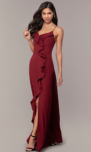 Long Ruffled V-Neck Formal Dress with Corset Back