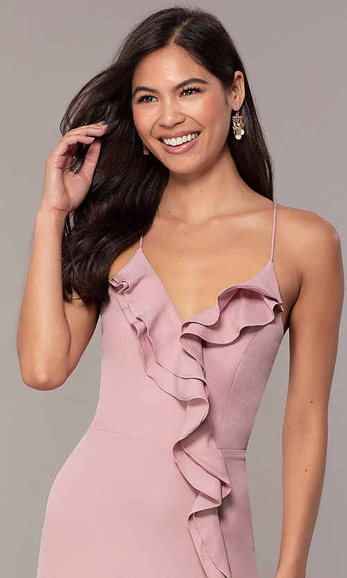 Image of long ruffled v-neck formal dress with corset back. Style: MT-9685 Detail Image 1