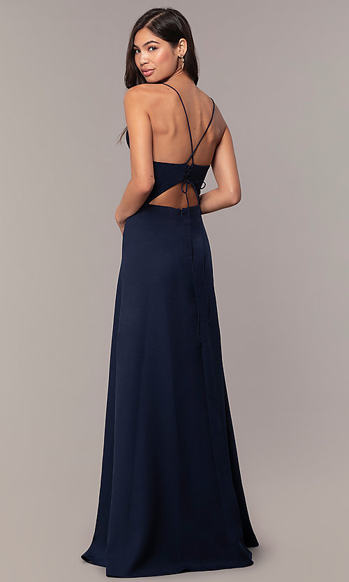 Image of long ruffled v-neck formal dress with corset back. Style: MT-9685 Detail Image 3