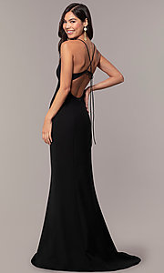 Image of long formal open-back v-neck prom dress by Simply. Style: MT-SD-9756-1 Front Image