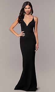 Image of long formal open-back v-neck prom dress by Simply. Style: MT-SD-9756-1 Detail Image 3