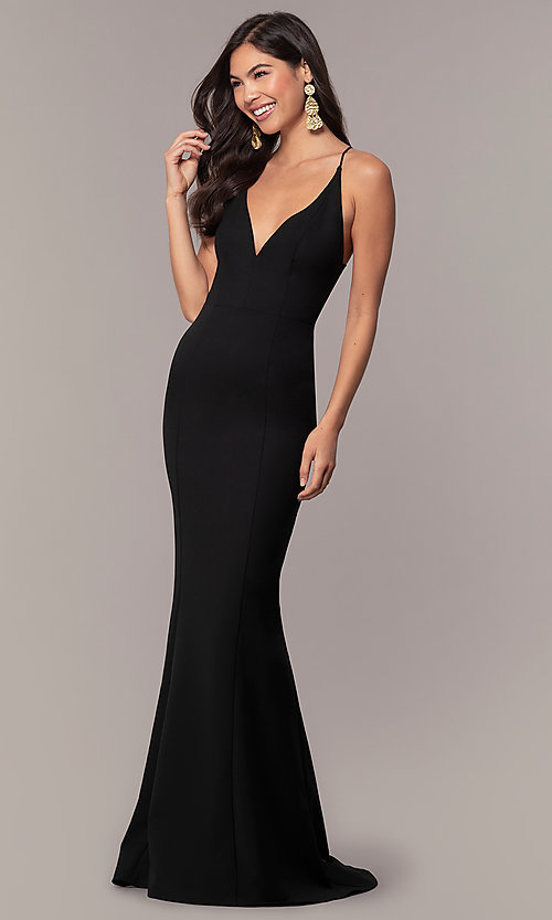 Image of long formal open-back v-neck prom dress by Simply. Style: MT-SD-9756-1 Back Image