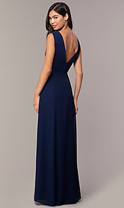 Image of long deep-v-neck chiffon formal evening dress. Style: MT-9585-1 Back Image