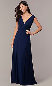 Image of long deep-v-neck chiffon formal evening dress. Style: MT-9585-1 Detail Image 3