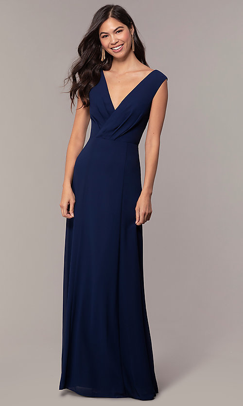Image of long deep-v-neck chiffon formal evening dress. Style: MT-9585-1 Front Image