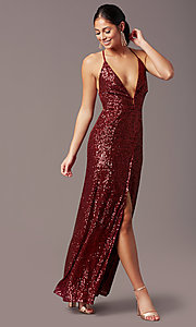 Image of corset open-back sexy long sequin formal dress.  Style: MT-PL-9935 Detail Image 3