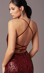 Image of corset open-back sexy long sequin formal dress.  Style: MT-PL-9935 Detail Image 5