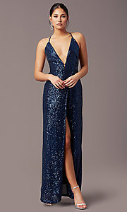 Image of corset open-back sexy long sequin formal dress.  Style: MT-PL-9935 Back Image