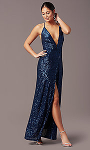 Image of corset open-back sexy long sequin formal dress.  Style: MT-PL-9935 Detail Image 2