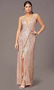 Image of corset open-back sexy long sequin formal dress.  Style: MT-PL-9935 Detail Image 6
