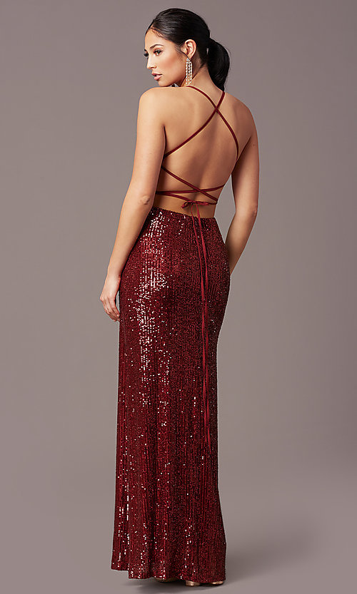 Image of corset open-back sexy long sequin formal dress.  Style: MT-PL-9935 Detail Image 4