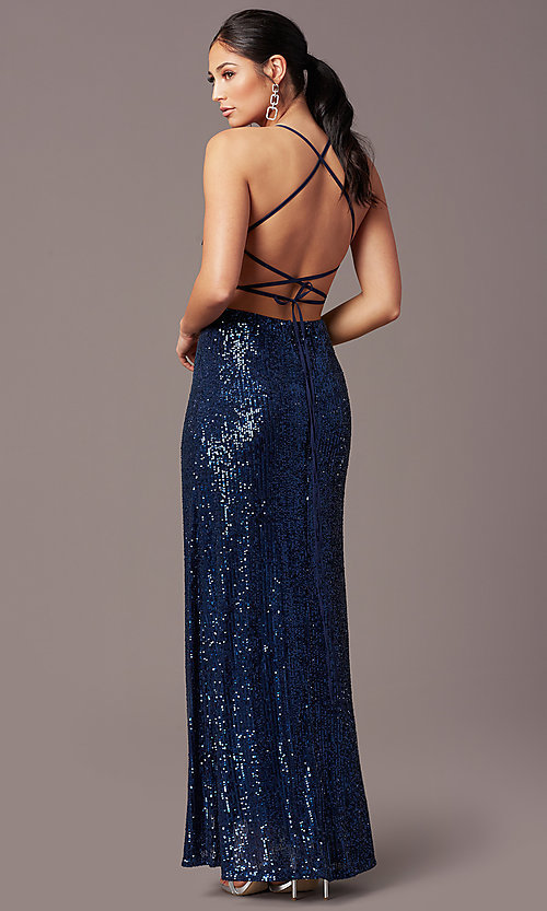 Image of corset open-back sexy long sequin formal dress.  Style: MT-PL-9935 Front Image