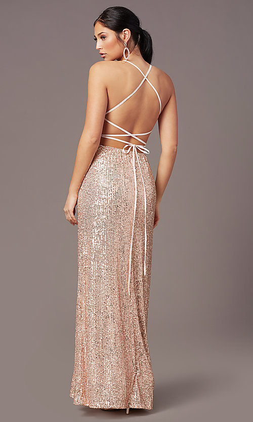 Image of corset open-back sexy long sequin formal dress.  Style: MT-PL-9935 Detail Image 7